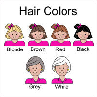Examples of hair colors for cartoon family labels and gifts