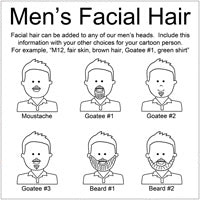 Choose men's facial hair for cartoon family labels and gifts