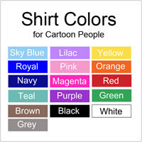 Examples of clothing colors for cartoon family labels and gifts
