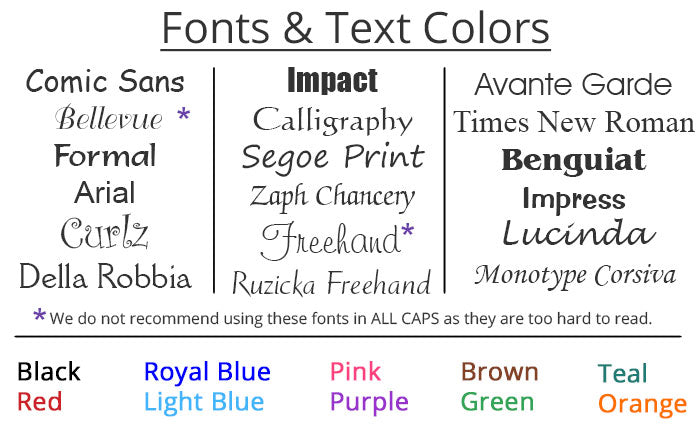 Examples of fonts and font colors