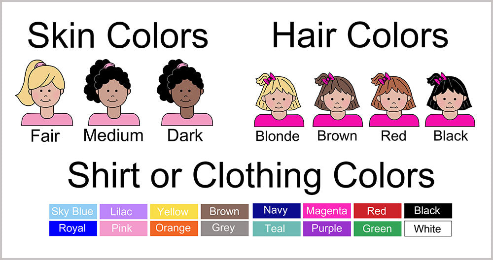 Examples of skin and hair color options for cartoon girls. For skin color you can choose fair, medium, or dark.  For hair color you can choose brown, blonde, red or black.