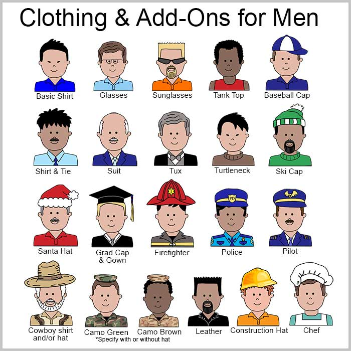 Clothing and Add Ons for Cartoon Men