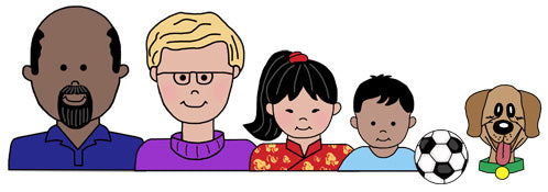 Create a cartoon family for address labels and personalized gifts