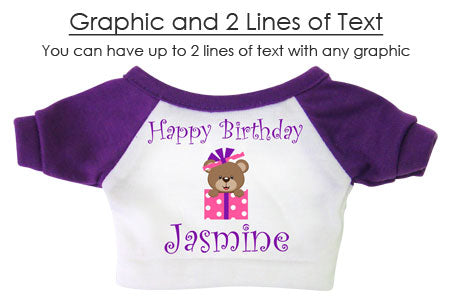 Example teddy bear shirt with a graphic and two lines of text