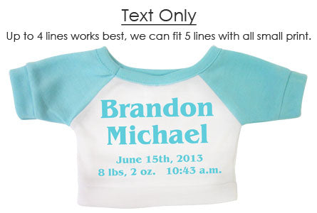 Example teddy bear shirt with image and up to four lines of text