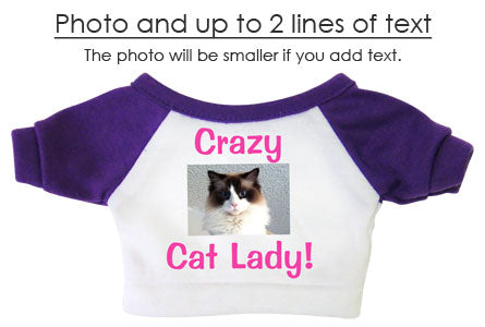 example of teddy bear shirt with photo and up to two lines of text