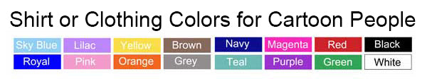 Examples of shirt colors for cartoon people