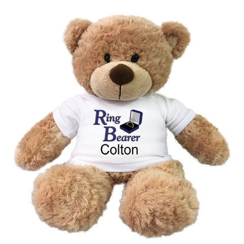 "Ring Bearer Teddy Bear -  Personalized 13"" Bonny Bear"