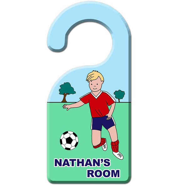 Soccer Player Door Hanger - Boy