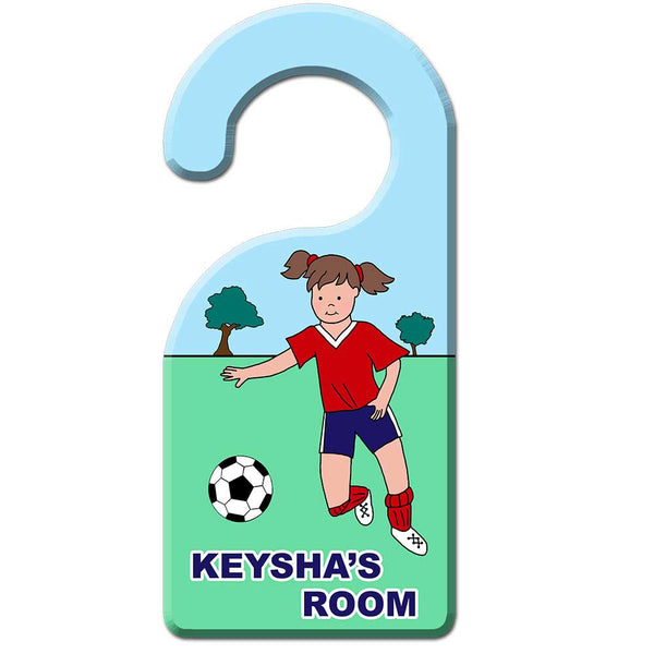Soccer Player Door Hanger - Girl