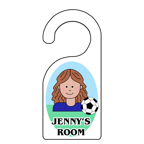 Soccer Kid Personalized Door Hanger for Girls
