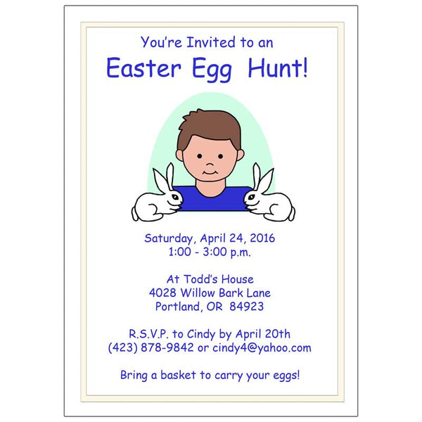 Easter Party or Egg Hunt Invitations - Boy