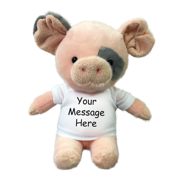 "Personalized Stuffed Pig - 10"" small ""Oink"" Pig"