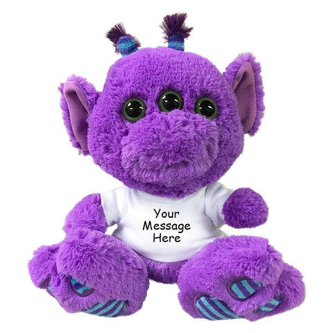 "Personalized Stuffed Alien - 10"" Aurora Plush Purple 3-Eyed Alien"