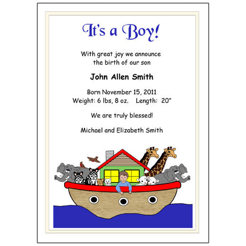 Noah's Ark Birth Announcement - Baby Boy