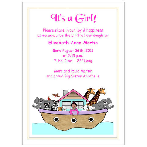 Noah's Ark  Birth Announcement - Baby Girl