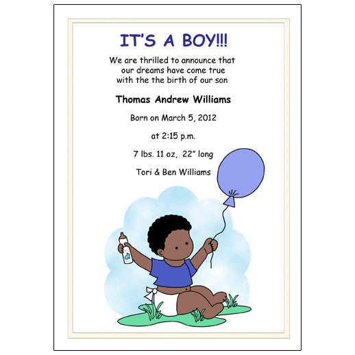 Balloon Baby Boy Birth Announcement
