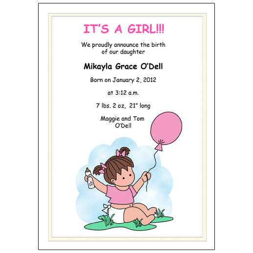 Balloon Baby Girl Birth Announcement