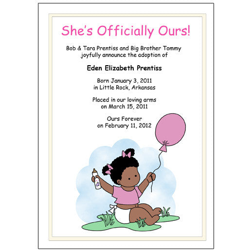 Balloon Baby Adoption Announcement - Girl