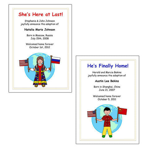 Older Child Adoption Announcement - Kid with Flags