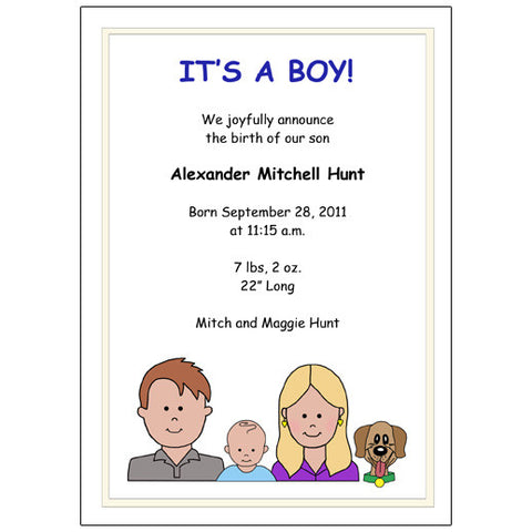 Cartoon Family Birth Announcement