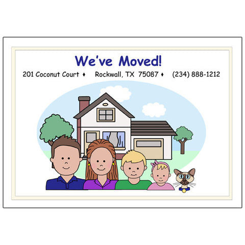 Cartoon Family Change of Address Cards