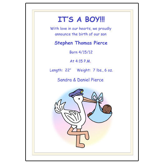 Pastel Stork Baby Boy Birth Announcement