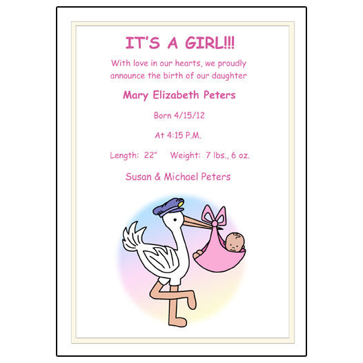 Pastel Stork Baby Girl Birth Announcement