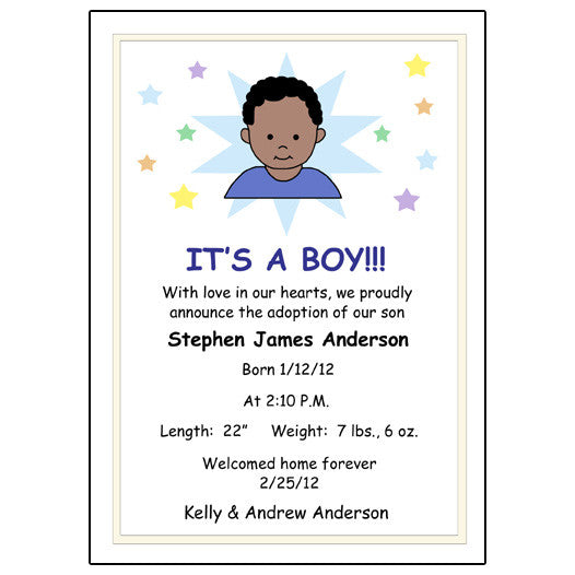 Star Baby Adoption Announcement - Boy