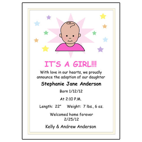 Star Baby Adoption Announcement - Girl