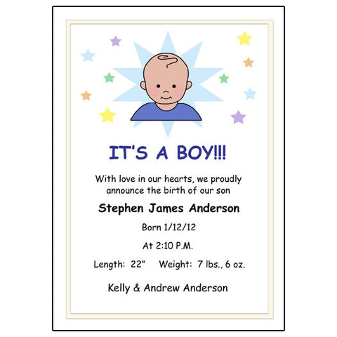 A Star is Born Baby Boy Birth Announcement