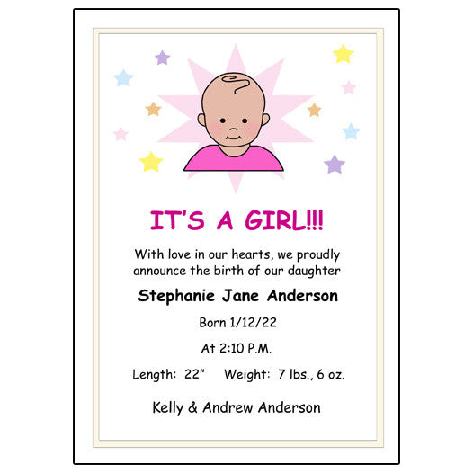 A Star is Born Baby Girl Birth Announcement