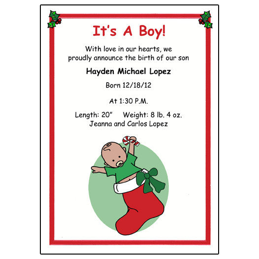 Christmas Birth Announcement - Baby Boy
