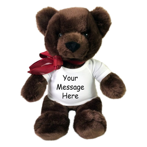 Personalized Teddy Bear - 14 inch Aurora Plush Chocolate Brown Bear
