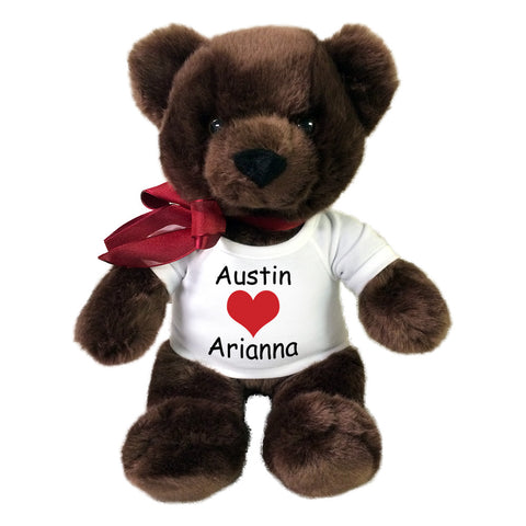 "Personalized Valentine Teddy Bear - 14"" Chocolate Brown Bear"
