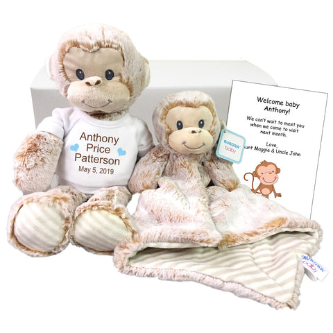 "Baby Gift Set - Personalized 12"" Stuffed Marlow Monkey with 16"" luvster blanket"