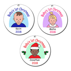 Examples of Baby's 1st Christmas personalized ornament