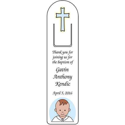 Personalized Baptism or Christening Bookmark - Baby Boy