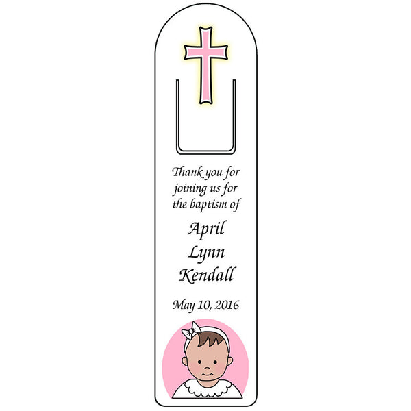 Baby Girl Baptism or Christening Bookmark - Personalized