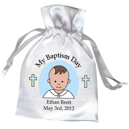 Personalized Baptism or Christening Favor Bag - Boy