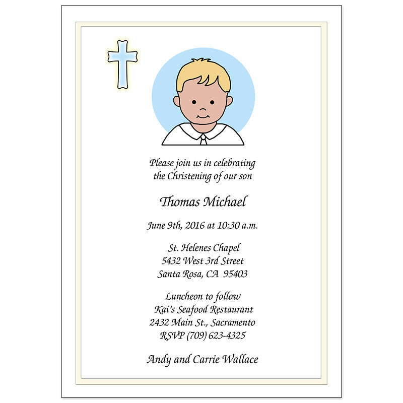 Baptism or Christening Invitation Baby Boy Mandys Moon