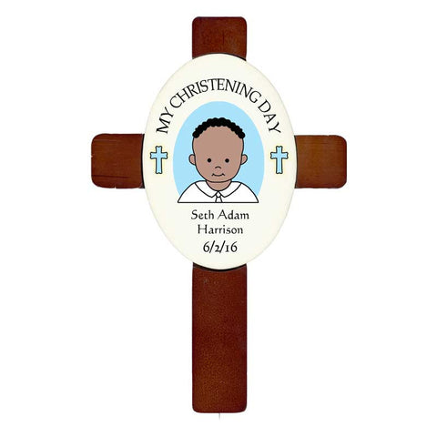 Personalized Baptism or Christening Cross - Boy