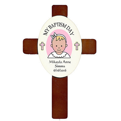 Personalized Baptism or Christening Cross - girl