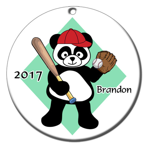 Personalized Baseball Panda Christmas Ornament