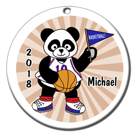 Basketball Panda Personalized Christmas Ornament