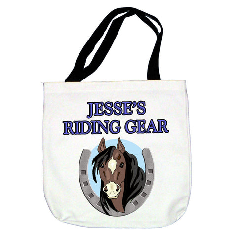 Personalized Bay Horse Tote Bag