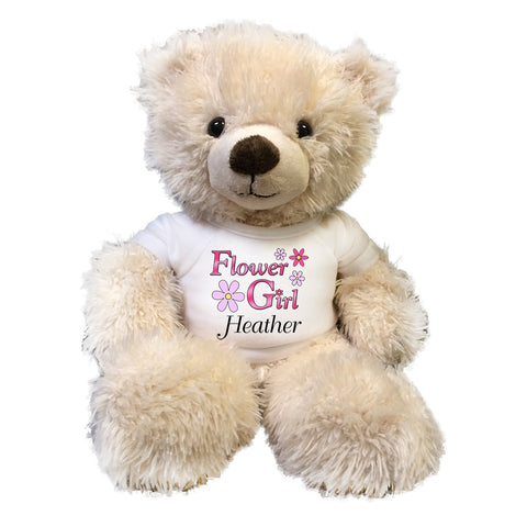 "Flower Girl Teddy Bear -  Personalized 14"" Cream Tummy Bear"
