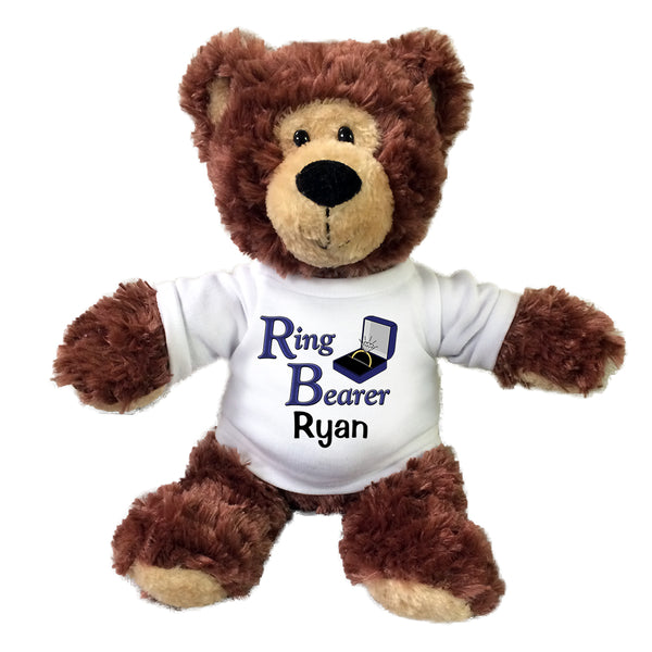 "Ring Bearer Teddy Bear -  Personalized 12"" Grizzly Bear"