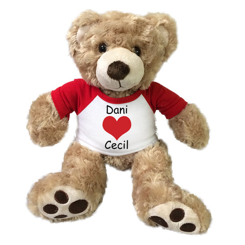 "Personalized Valentine Teddy Bear - 13"" Honey Vera Bear"