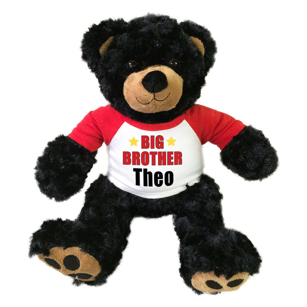 "Big Brother Teddy Bear - Personalized 13"" Black Vera Bear"